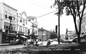 Sanford ME Street View Store Fronts Old Cars Real Photo RPPC Postcard