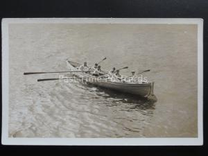 Naval Royal Navy 6 MAN ROWING CREW from unknown ship - Old RP Postcard