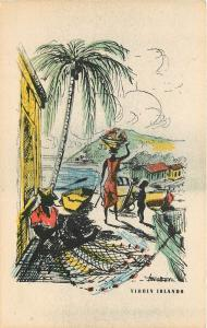 Carib Graphic Arts Card Virgin Islands Beach scene St. Thomas palm tree Canoe