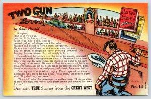 Dramatic True Storiette~Great West~2 Gun Lover~Roy Bean~Arnold~No 14~1944 Linen