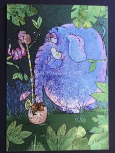 ELEPHANT SHARES A COCKTAIL c1980's by F J Warren DUFEX FOIL Postcard 501878