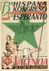 13th Spanish Esperanto Congress in Spain Valencia (1952) Postcard