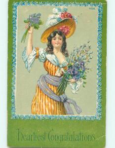 Divided-Back art nouveau PRETTY GIRL IN HAT HOLDS FLOWER BOUQUET r1763