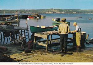 Canada Nova Scotia Typical Fishing Community Found Along The Coastline