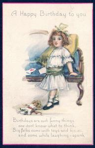 Happy Birthday to You Pretty Girl & her Doll used c1916