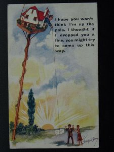 Postal Theme I THOUGHT IF I DRPPED YOU A LINE c1920s Postcard by Photochrom