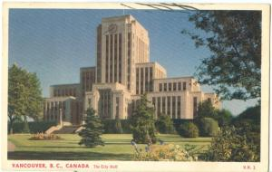 Canada, The City Hall, Vancouver, B.C. 1952 used Postcard