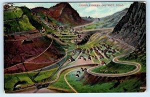 CRIPPLE CREEK, CO ~Birdseye View RAILROAD TRAIN c1910s Mining Town Postcard