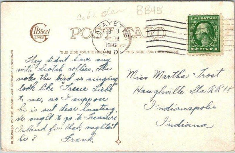 Artist-Signed COBB SHINN Valentine's Day Postcard Hunting Boy w/ Dog 1916 Cancel