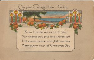 CHRISTMAS GREETINGS FROM FLORIDA - nice POEM with oranges 1926