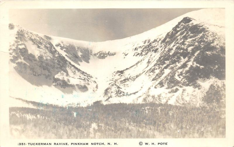 Pinkham Notch New Hampshire~Tukerman Ravine~Mountain in Distance~RPPC?-Postcard