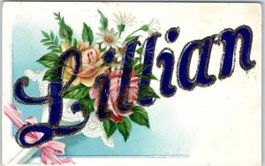 Large Letter Greetings Embossed Postcard LILLIAN Name w/ Flowers c1910s UNUSED