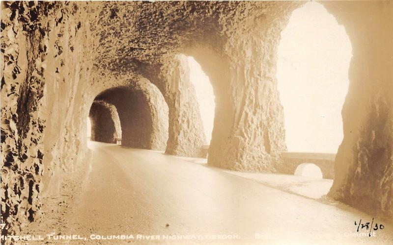 Columbia River Highway Oregon~Mitchell Tunnel~1930 Cross & Dimmitt RPPC