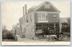 Deerfield IL~ED Bleimehl~Doc's Exchange Store~Himself on Steps~Dog~Auto~1908