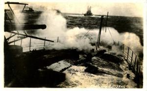 USS New Hampshire, 1916, Off Cape Hatteras - RPPC