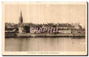 Old Postcard Saint Malo The Great Gate and the Cathedral