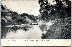 Lisbon, Ohio Postcard Scene in Willow Park Boat Boating Gorsuch c1910s