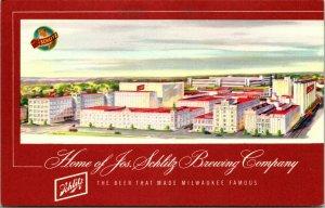 Vtg Postcard 1949 Home of the Jos. Schlitz Brewing Company Milwaukee MN