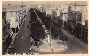 Havana Cuba Pasco Marti Street Scene Real Photo Antique Postcard K39836