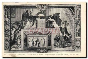 Postcard Old Gobelins Tapestry Bol?ne of the Mass after Raphael's Lodges Vaticon