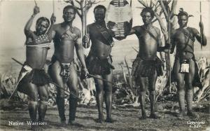 South Africa zulus zulu native warriors real photo postcard