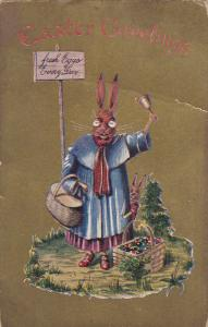 EASTER; Greetings, Rabbit wearing clothes and glasses with bunny, colored e...