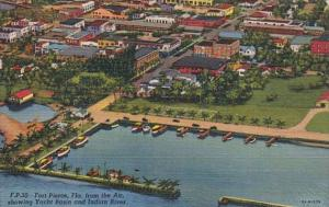 Florida Fort Pierce Aerial View Showing Yacht Basin and Indian River Curteich
