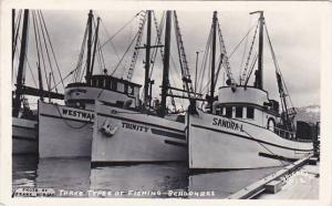 Three Types Of Fishing Schooners Real Photo