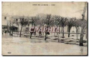 Old Postcard Crue of the Seine Ivry