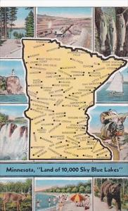 Map Of Minnesota Land Of 10,000 Sky Blue Lakes 1942