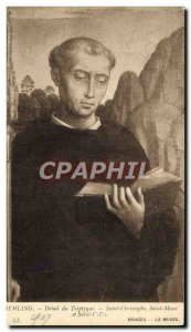 Old Postcard Bruges Museum Memling triptych detail Saint Kitts and Saint Maur...