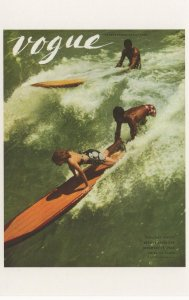 1938 Surfboard Race Surfers Vogue Magazine Photo Postcard