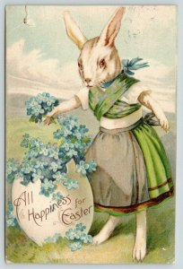Easter Fantasy~Dressed Lady Rabbit~Forget-Me-Nots Egg Shell Planter~Meadow~1908