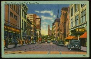 041521 1940s AUTOS ON ADAMS STREET VINTAGE TOLEDO OH LINEN POSTCARD 1946