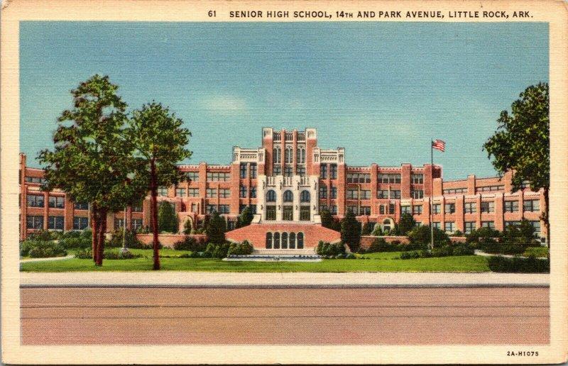 Vtg 1930s Senior High School 14th & Park Avenue Little Rock Arkansas AR Postcard