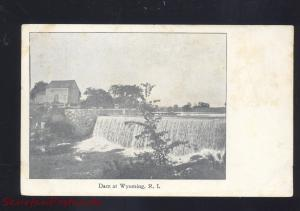 WYOMING RHODE ISLAND DAM WATERFALL ANTIQUE VINTAGE POSTCARD R.I. 1906