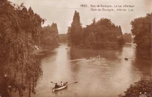 Vintage Postcard PARIS Bois de Boulogne, Boating on the Lower Lake, France #P
