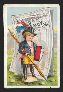 VICTORIAN TRADE CARDS Puck Child with Quill + a freebie