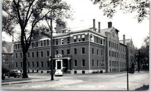 Sparta, Wisconsin RPPC Real Photo Postcard ST. MARY'S HOSPITAL Street View 1950s