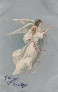 EASTER Greeting, 1900-10s ; Two Angels, one without wings