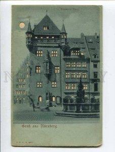 287097 GERMANY Gruss aus NURNBERG HOLD to LIGHT Vintage postcard