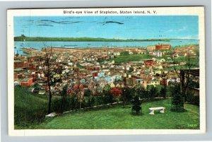 Staten Island NY-New York, Birds Eye View Of Stapleton, Linen c1938 Postcard