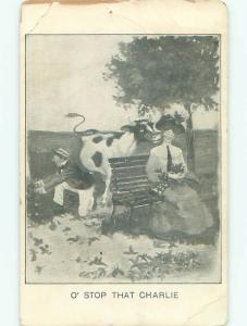 Edge Wear Pre-1907 WOMAN THINKS COW TONGUE ON HER FACE IS HUSBAND o3108