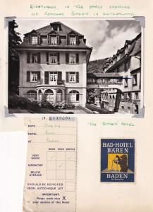 Bad Hotel Baden Switzerland Receipt Photo 3x Ephemera