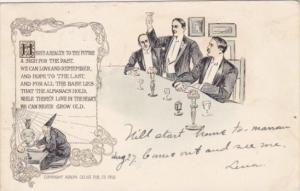 Humour Men Toasting Here's A Health To The Future Adolph Selige 1907