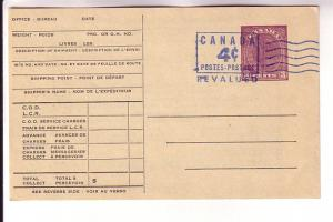 Canada Postal Stationery, P81e George VI, 4 Cents Revalued, Canadian National...