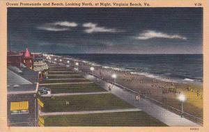 Virginia Virginia Beach Ocean Promenade And Beach Looking North At Night