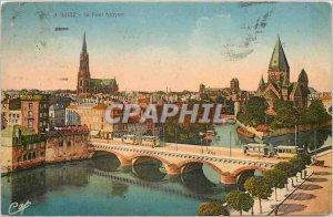 Old Postcard Metz Middle Bridge Tramway