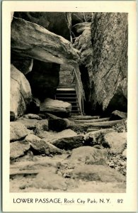 Rock City Park, New York RPPC Real Photo Postcard Lower Passage Olean Unused