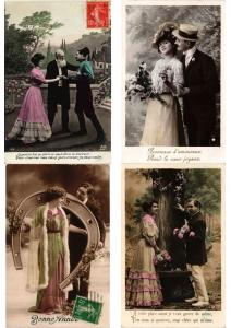 GLAMOUR ROMANTIC COUPLES Lot of 700 CPA Vintage Real Photo Postcards (PART II)
